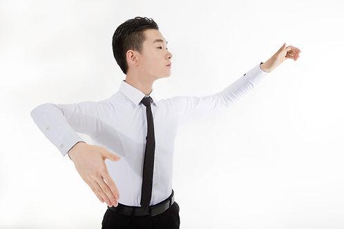 Ads製ダンス用ストレッチワイシャツ(白)