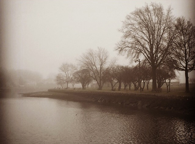 Mamaroneck Harbor Fog in Sepia