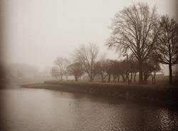 Mamaroneck Harbor Fog in Sepia