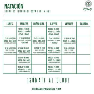 Natación   Horarios de la temporada 2019