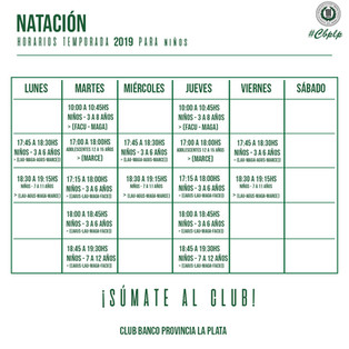 Natación | Horarios de la temporada 2019