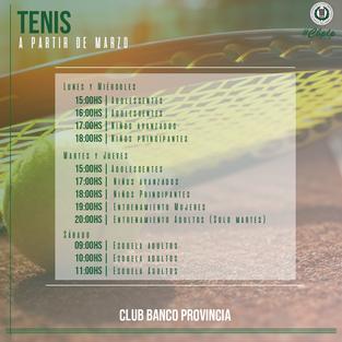 Tenis | FORMA PARTE DEL TENIS DE BANCO PROVINCIA