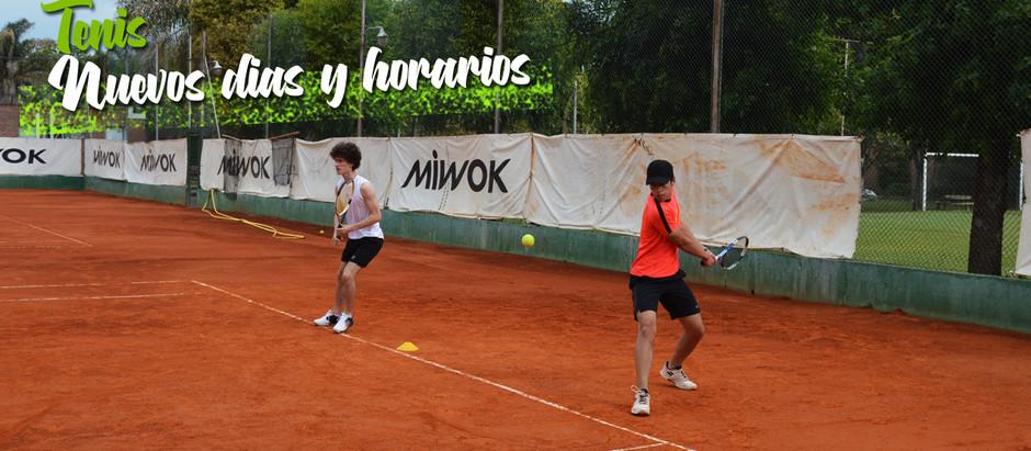 Nuevos horarios y días para Tenis