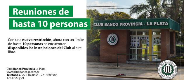 Reuniones permitidas en el Club hasta 10 personas