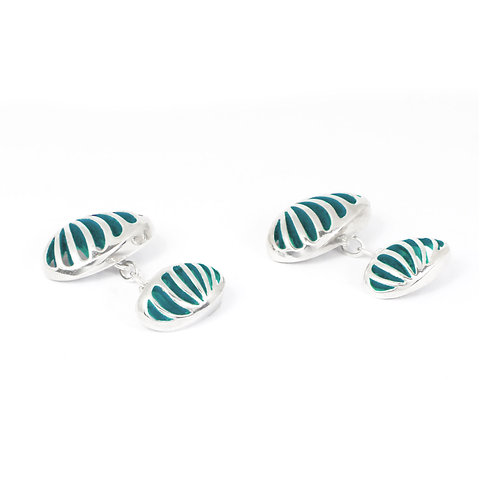 Entropic Oval Linked Cufflinks, Turquoise
