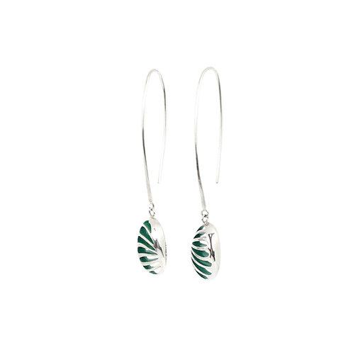 Entropic Oval Drop Earrings, Green