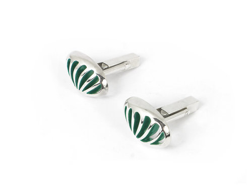Entropic Oval Swivel Cufflinks, Green