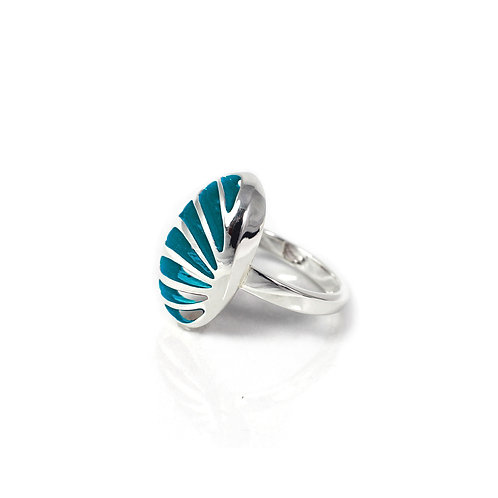 Entropic Portrait Oval Ring, Turquoise