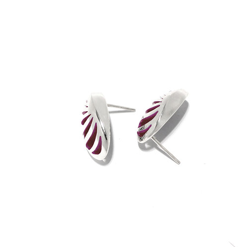 Entropic Oval Studs, Magenta