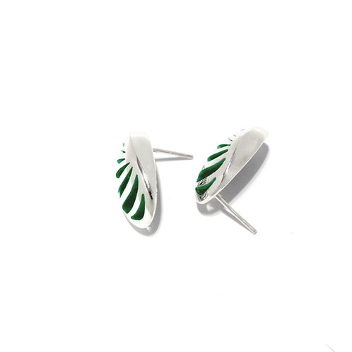 Entropic Oval Studs, Green