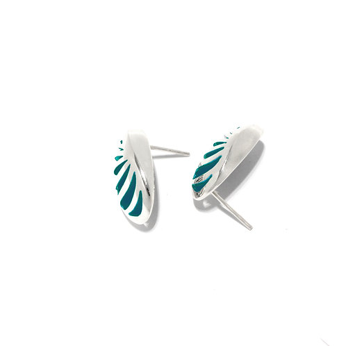 Entropic Oval Studs, Turquoise