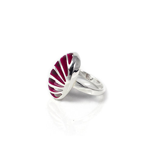 Entropic Portrait Oval Ring, Magenta