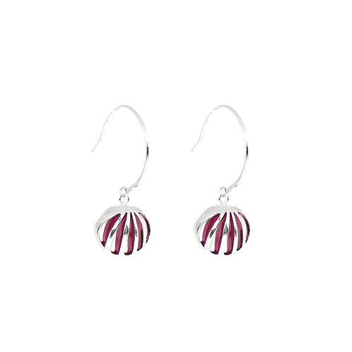 Entropic Hoop Earrings, Magenta