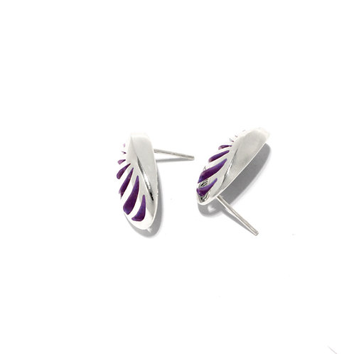 Entropic Oval Studs, Purple
