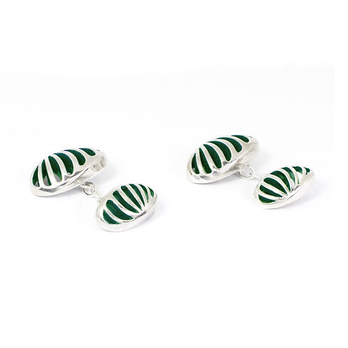 Entropic Oval Linked Cufflinks, Green
