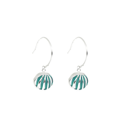 Entropic Hoop Earrings, Turquoise