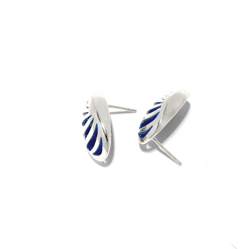 Entropic Oval Studs, Blue