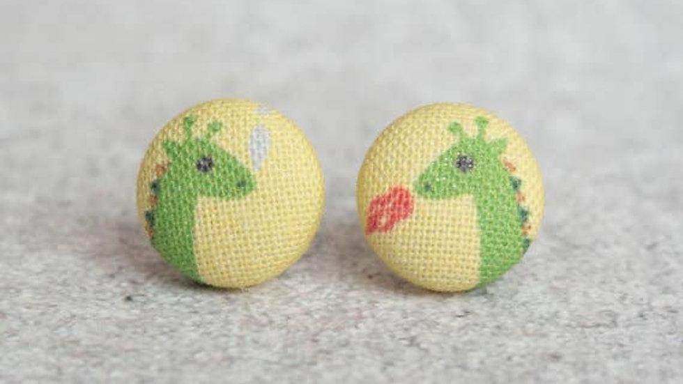 Dragon Fabric Button Earrings