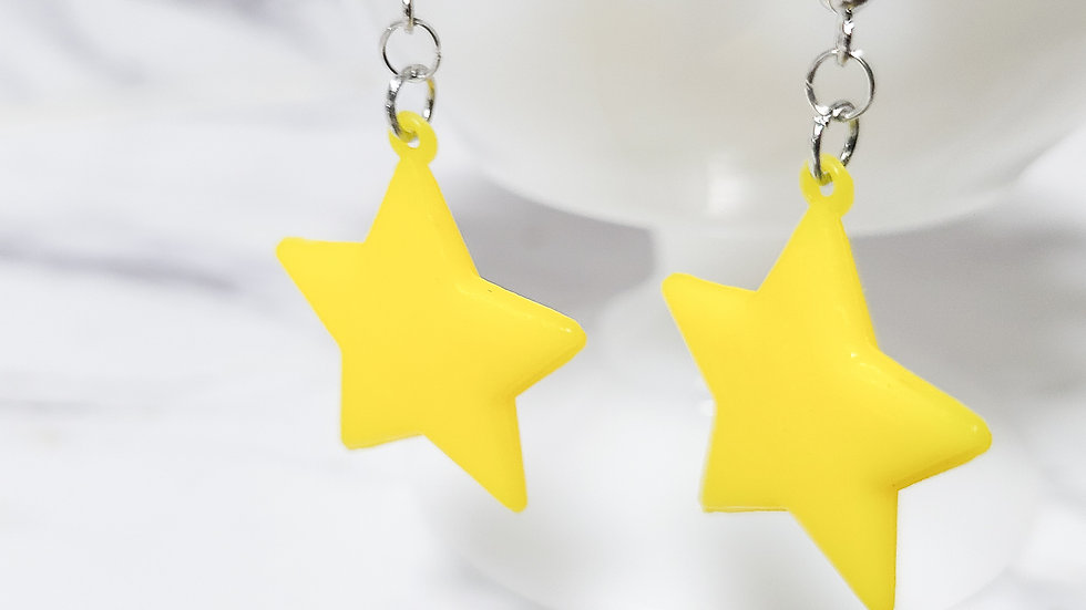 Vintage 1980's Star Bell Charm/ Kitsch Toy Earrings