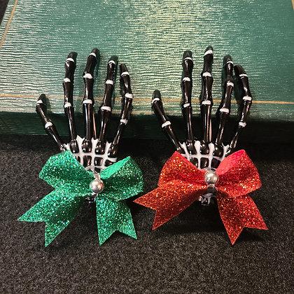 Christmas Spirit Black Skeleton Hand Hair Clips Set