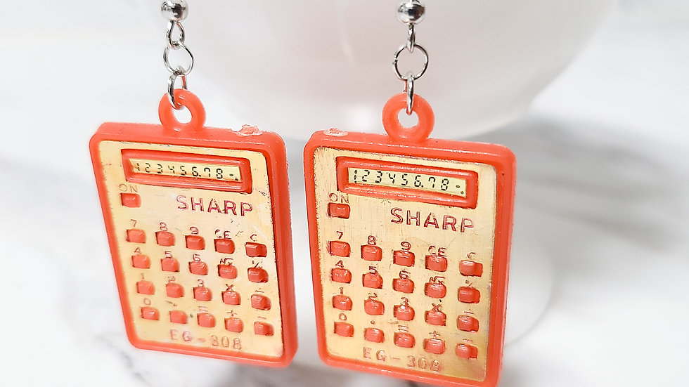Vintage Calculator Charm/ Kitsch Toy Earrings