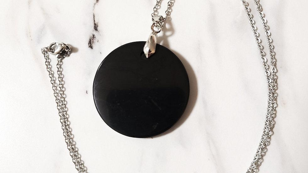 Russian Shungite Circle Pendant Necklace