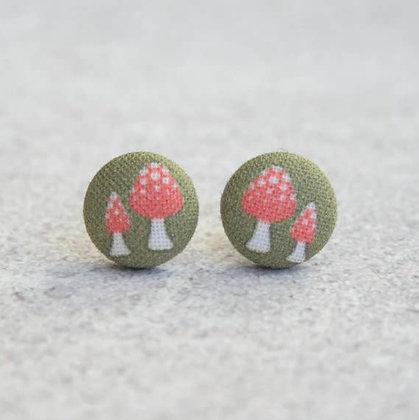 Vintage Mushroom Fabric Button Earrings