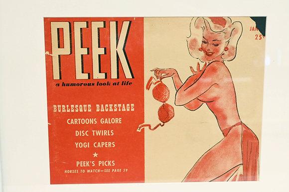 Vintage 1948 Peek Magazine Burlesque Cover Framed Clipping