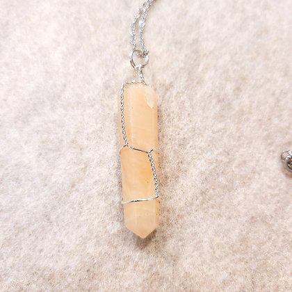 Yellow Quartz Point Hand Wired Necklace Silver Tone