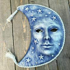 Moon Ceramic Mask Blue & Silver