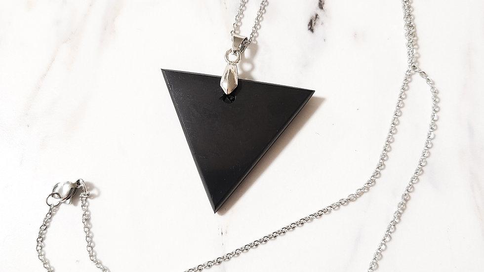 Russian Shungite Triangle Pendant Necklace