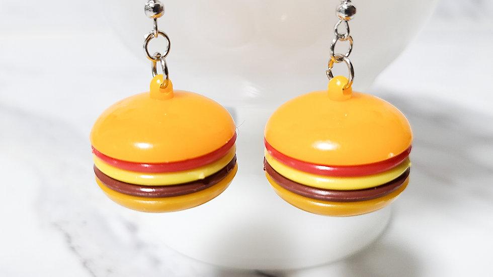 Vintage 1980's Hamburger Kitsch Toy Earrings