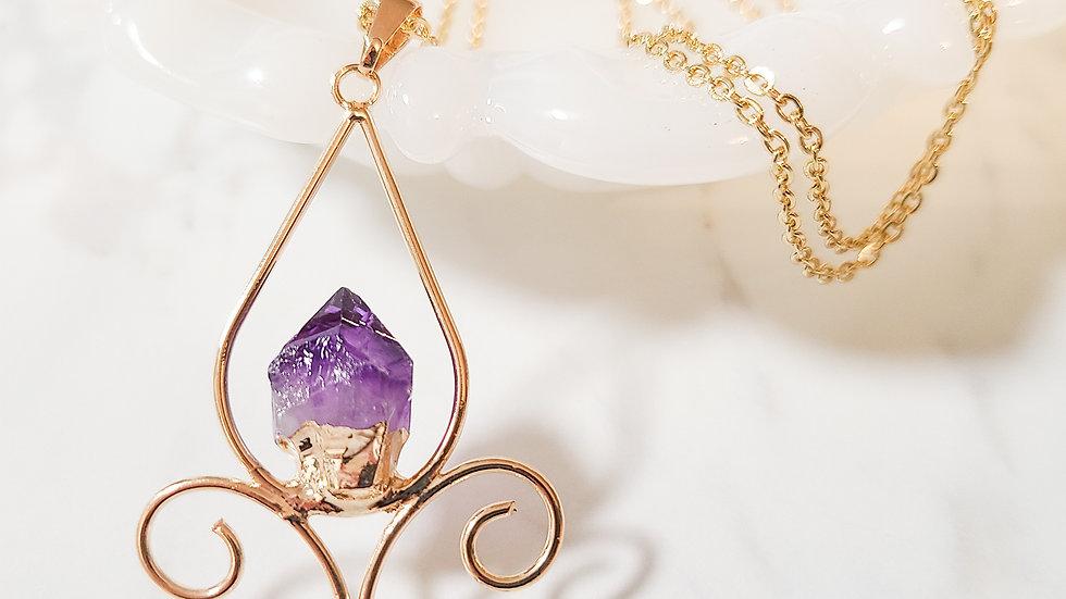 Fleur de Lis Amethyst Necklace, Gold