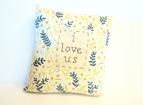 "I Love Us Hand-stitched 8""x8"" Small Pillow"