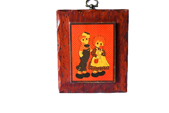 1970's Raggedy Ann & Andy Wood Plaque
