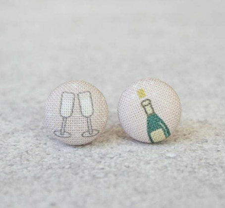 Champagne Toast Fabric Button Earrings