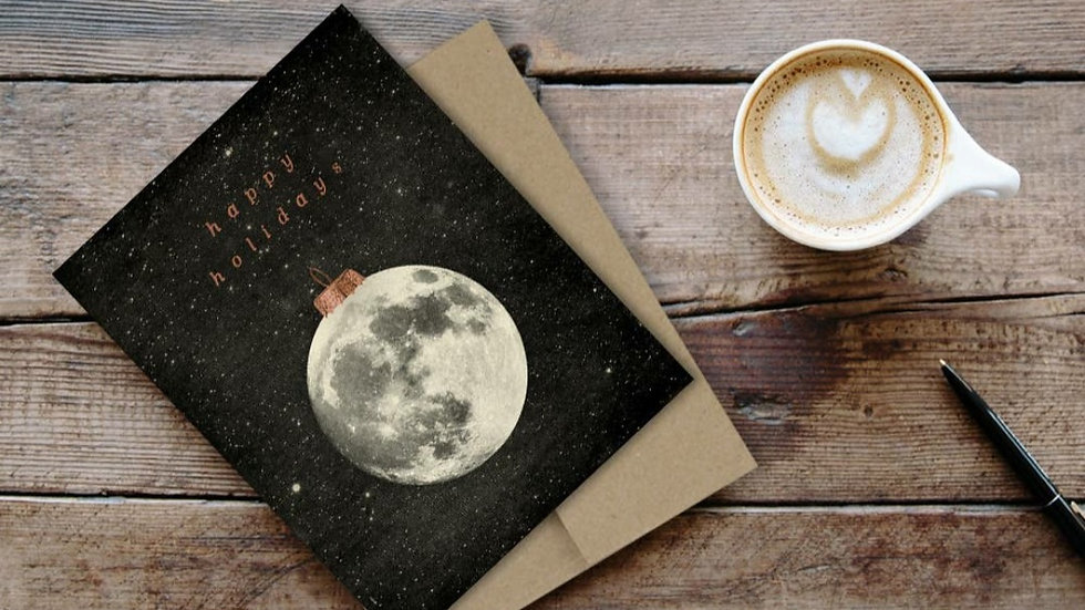 """Happy Holidays"" Moon Ornament Card"