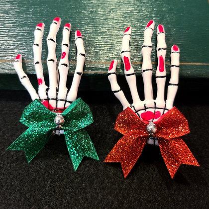 Christmas Spirit Blood Splatter Skeleton Hand Hair Clips Set