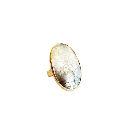 Crackle Abalone Shell Oval Ring Adjustable
