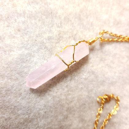 Rose Quartz Point Hand Wired Necklace