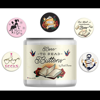 $2 each Reading Themed Button- 5 Styles To Choose From