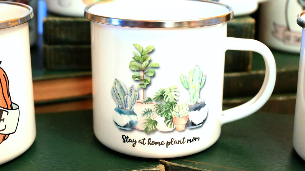 """Stay at Home Plant Mom"" Camping Mug 12 oz"