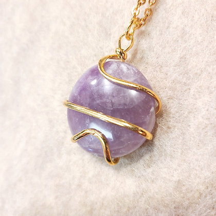 Amethyst Round Spiral Wired Necklace Gold Tone