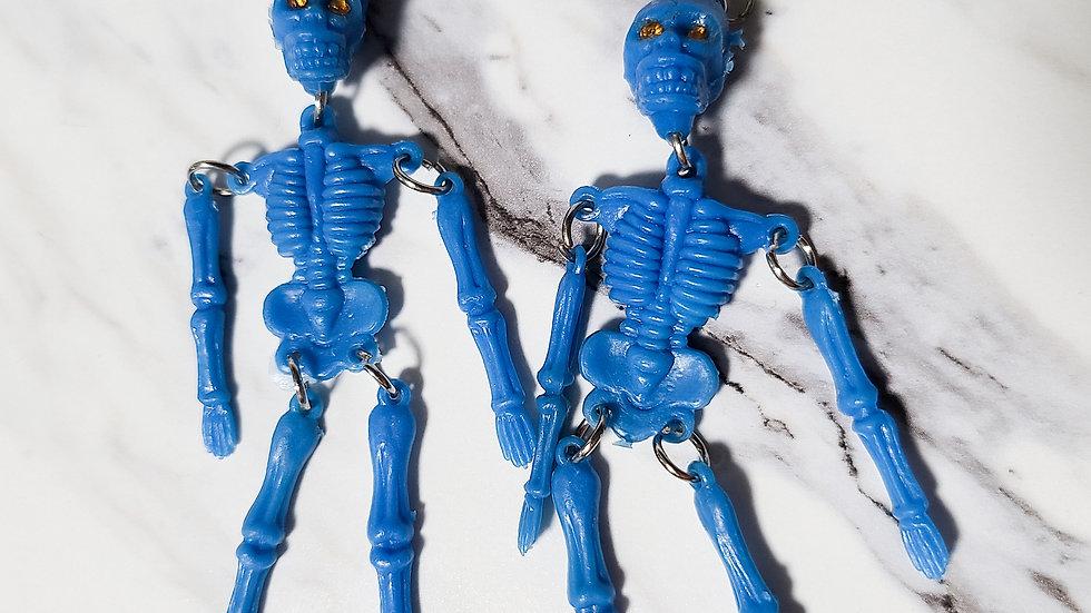 Vintage 1980's Skeleton Bell Charm/ Kitsch Toy Earrings