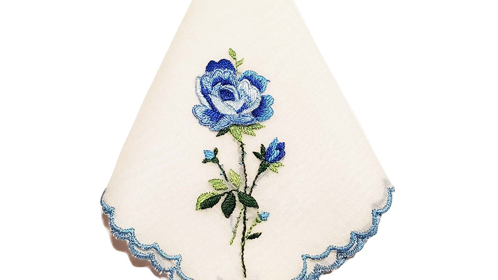 Vintage Blue Rose Embroidered Handkerchief