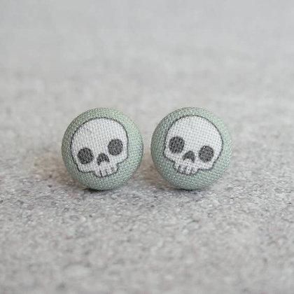 Grey Skull Fabric Button Earrings