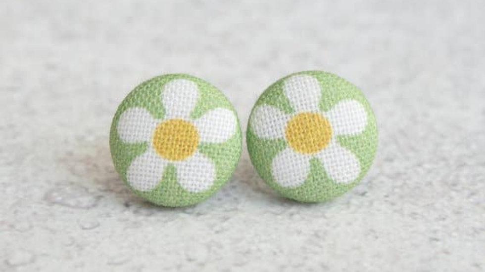 Daisy Fabric Button Earrings