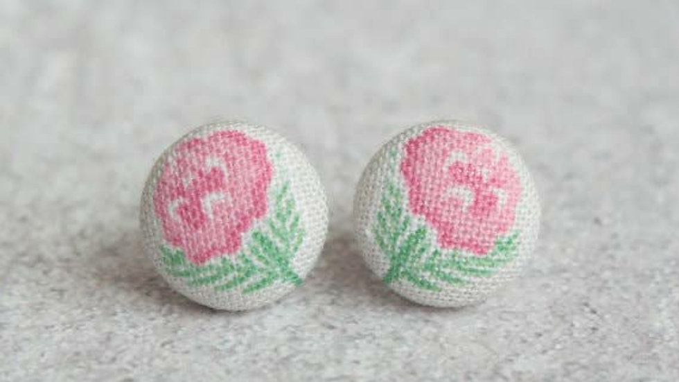 Pink Flower Fabric Button Earrings