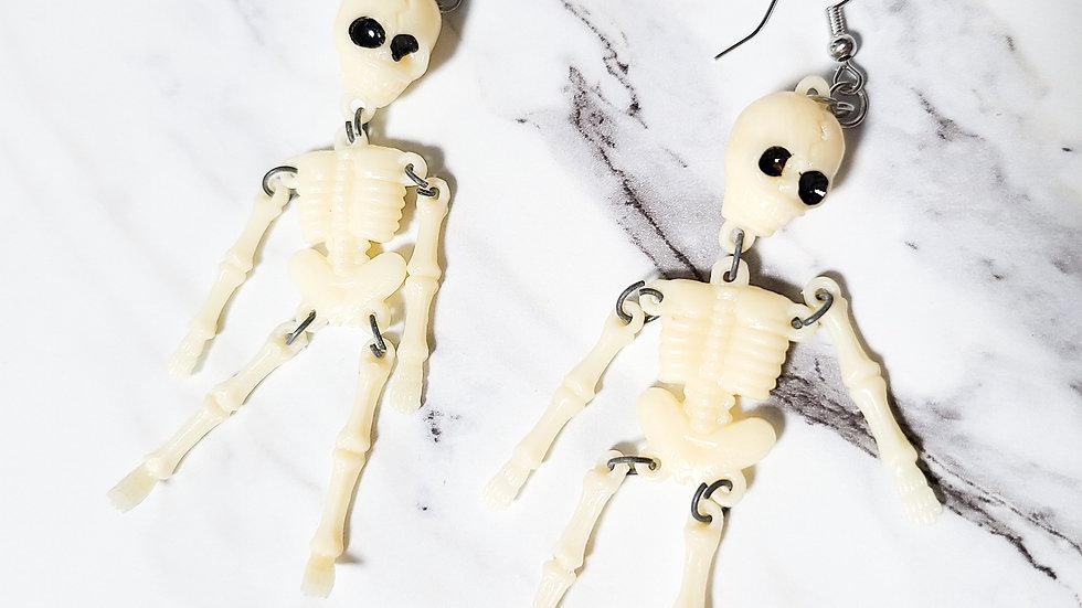Vintage Skeleton Arcade Prize/ Kitsch Toy Earrings