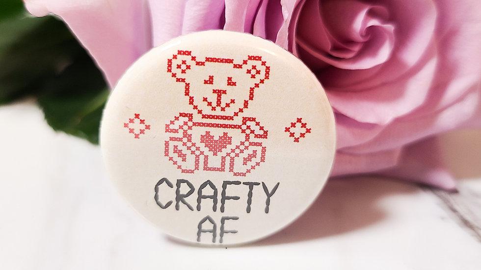 """""""Crafty AF"""" Small Button"""